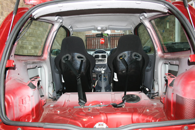 inside of stripped out car